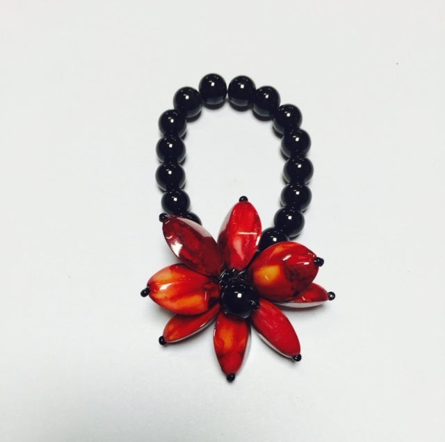 B0128 BLK BRACELET/RED FLOWER