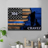 "Canvas Prints 12"" x 8"" Half Flag - Police Officer Vs K9 Unit Unit - Lab - Personalized Canvas"