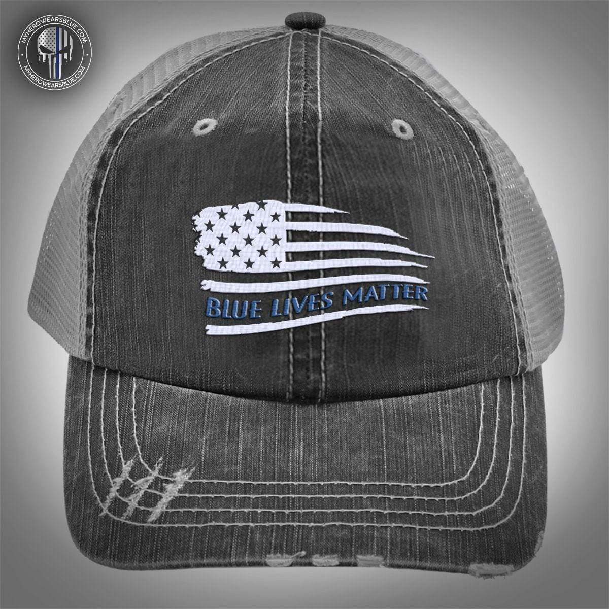Tbl Distressed Flag Blue Lives Matter Embroidery Trucker Cap My Hero Wears Blue