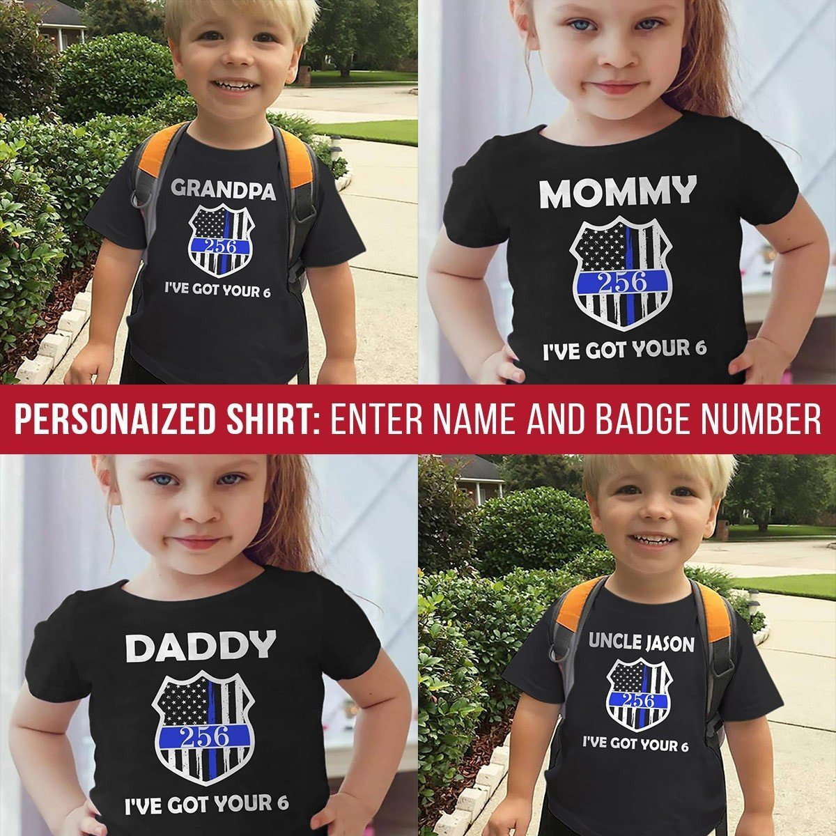 b1d39c570 Kid Apparel T-shirt / Black / YS Got Your Six Personalized Youth Shirt