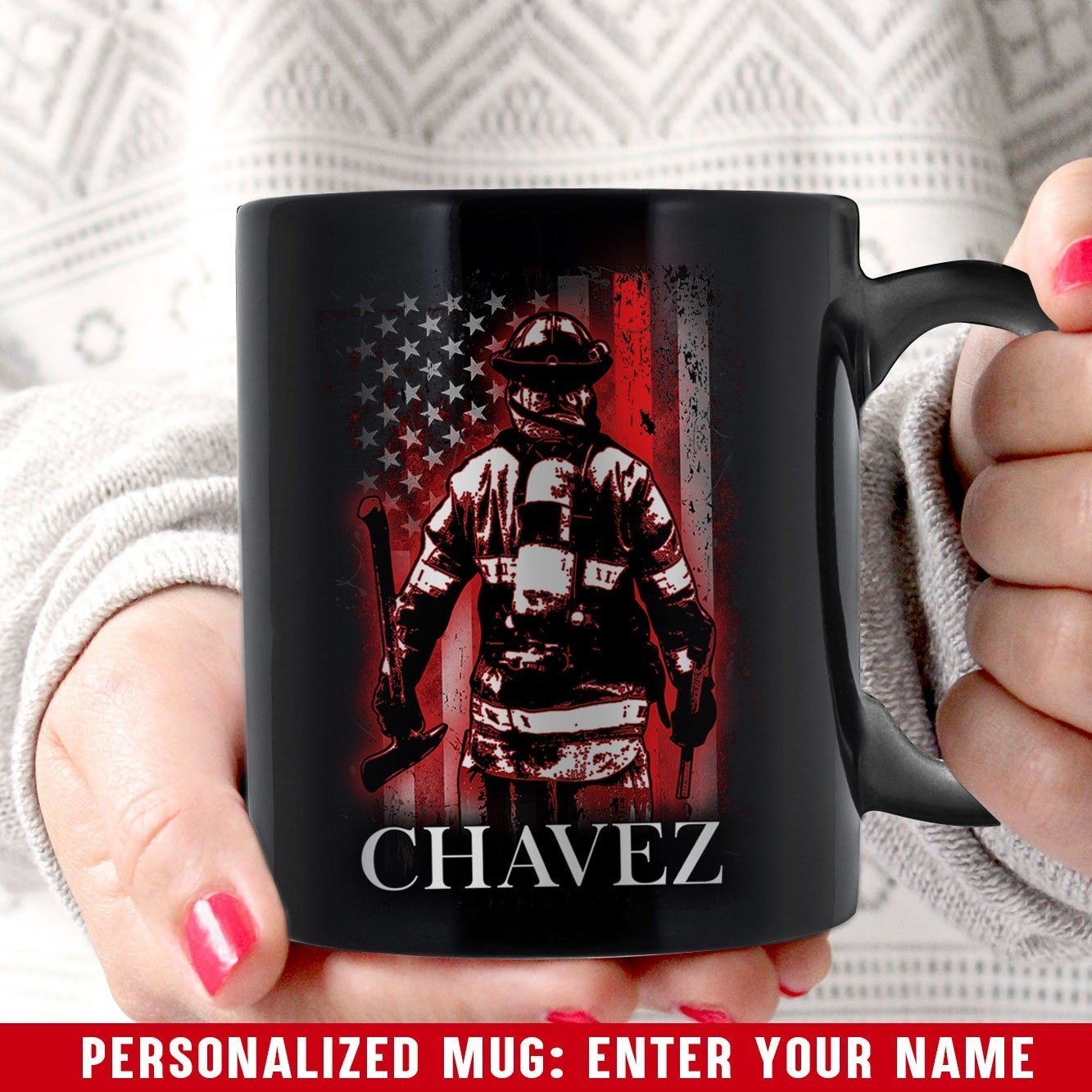 Personalized Coffee Mugs Thin Red Line Bunker Gear
