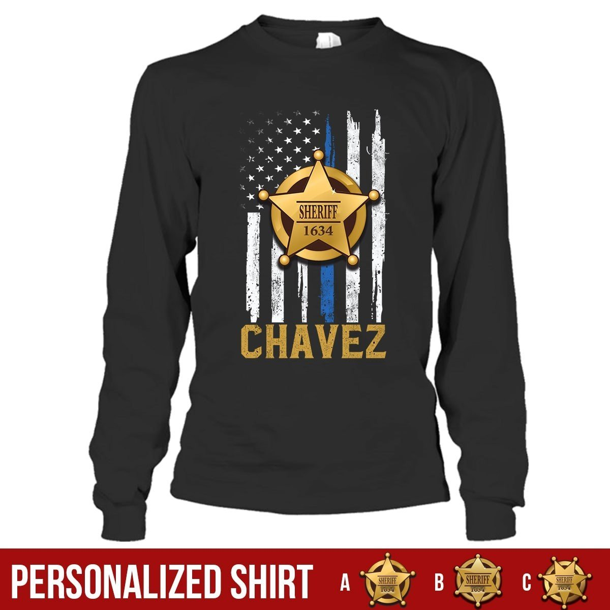 c10b4d1de Personalized Shirt - Thin Blue Line - Sheriff Badge - My Hero Wears Blue