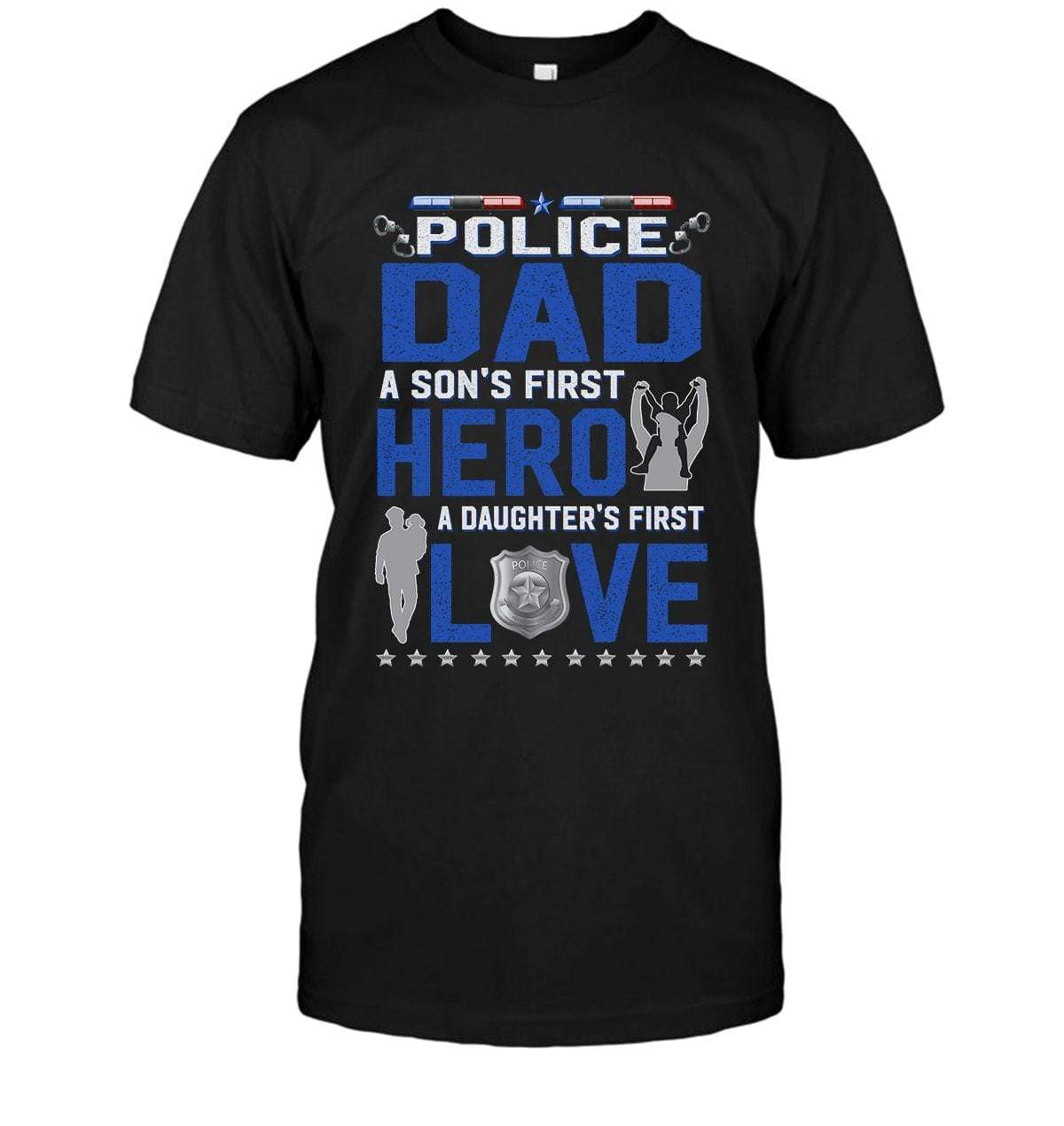 2279c8990 T-shirts Basic Unisex Tee / XS / Black Police Dad Son's First Hero Shirt