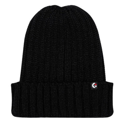 Ribbed Fold Beanie Black