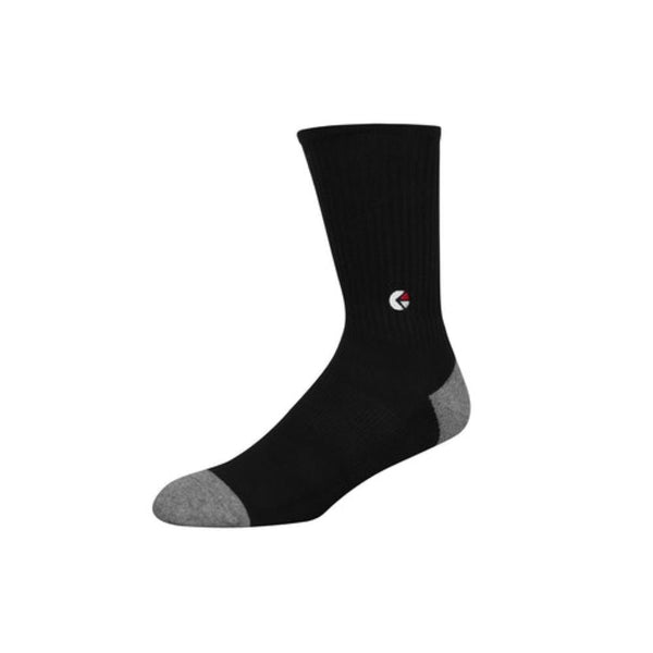Boys Black Crew Sock - White Logo