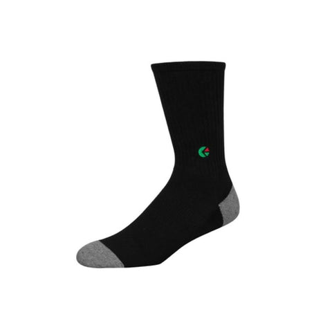 Boys Black Crew Sock - Green Logo