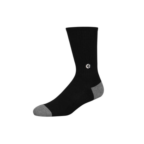 Boys Black Crew Sock - Silver Logo