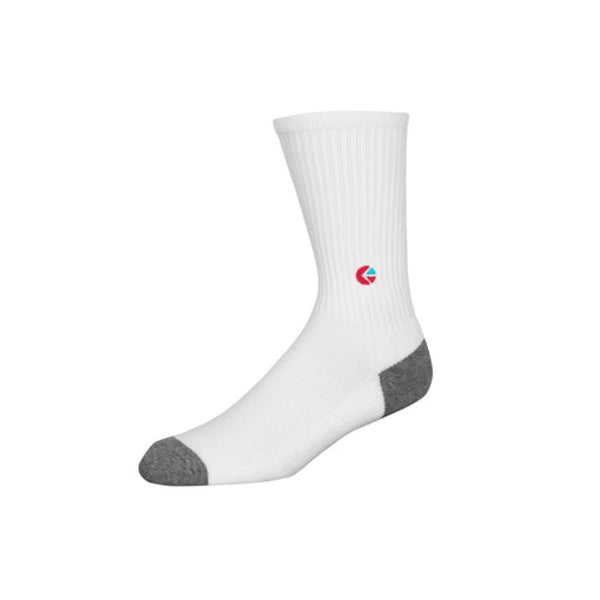 Boys White Crew Sock - Red Logo