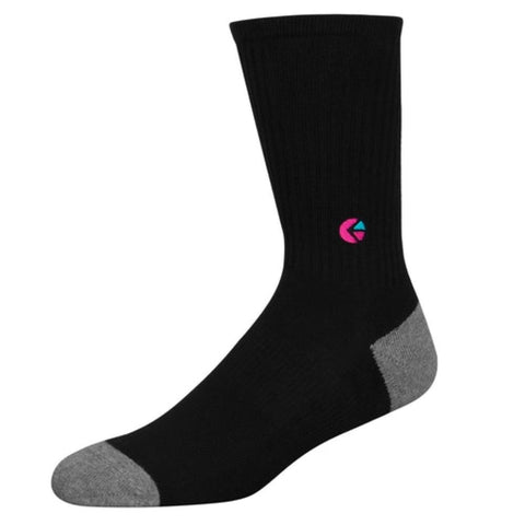 Black Crew Socks - Pink Logo