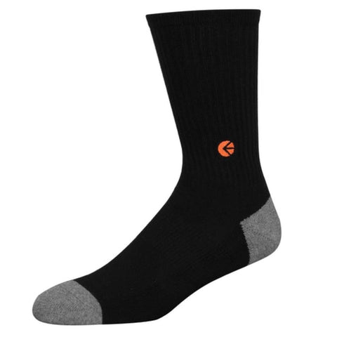 Black Crew Socks - Orange Logo