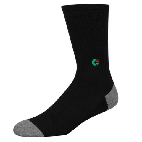 Black Crew Socks - Green Logo