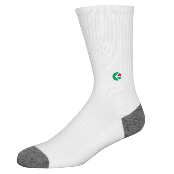 White Crew Socks - Green Logo