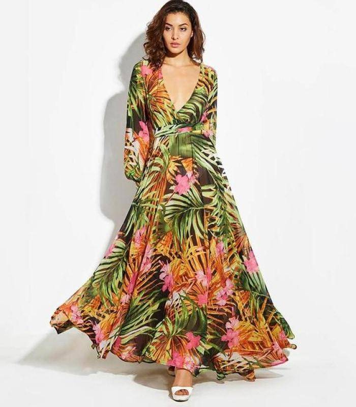 f2f0ff8a1822 Tropical Print Maxi Dress - Pink-Chiffon / S - Dresses. Hover to zoom