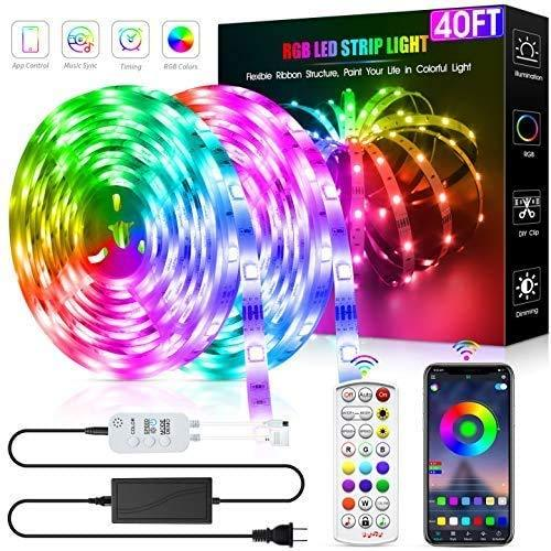DZFtech 40ft RGB LED Strip Lights Kit, DZFtech Color Changing Smart LED Strip Lights with Remote, SMD 5050 LED Rope Lights with Bluetooth App Controller & Mic Music Sync for Bedroom Decoration, TV, Bar, DIY