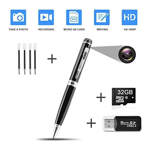 DZFtech Hidden Pen Camera Spy Pen Camera HD 1080P Clip On Body Camera Mini Camera Pen 32GB SD Card with Included Wonderful Spy Gadgets for Business and Conference