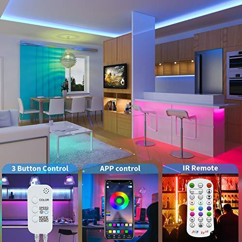 DZFtech LED Strip Lights, 130 ft/40M RGB LED Light Strip with Bluetooth Remote App Controller Color Changing 5050 LED Rope Lights Strip Music Sync for Bedroom, Party, Bar, Home, Kitchen, DIY Decoration