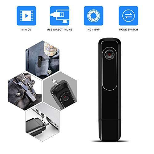DZFtech Mini Body Camera with USB Port DZFtech Body Spy Cam HD 1080P Wireless Portable Hidden Spy Pen Body Cameras Wearable Video Recorder with Clip Body Camera Easy to Record for Home/Office