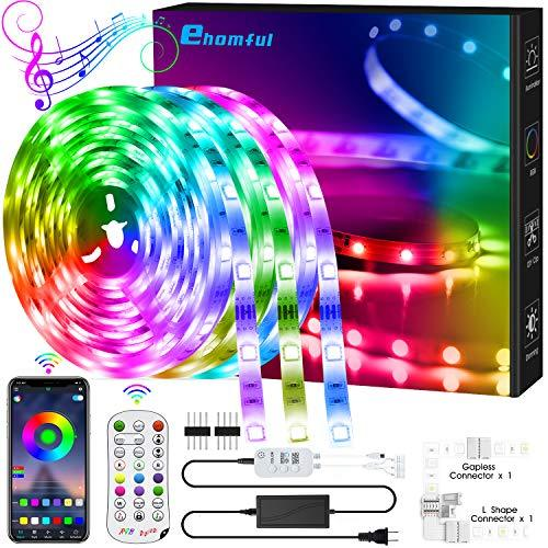 ehomful 40FT LED Strip Lights,Color Changing Lights Strip Music Sync Bluetooth App Remote Control 5050 RGB LEDs Light with Built-in Mic Smart LED Rope Lights for Bedroom Room TV Party DIY Decoration