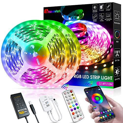 ehomful LED Strip Lights,32.8ft Color Changing Smart Bluetooth App LED Strip Lights Kit with 24-Key Remote Sync to Music,SMD 5050 RGB LED Tape Lights for Bedroom,Room,Bars and Party DIY Christmas Decoration