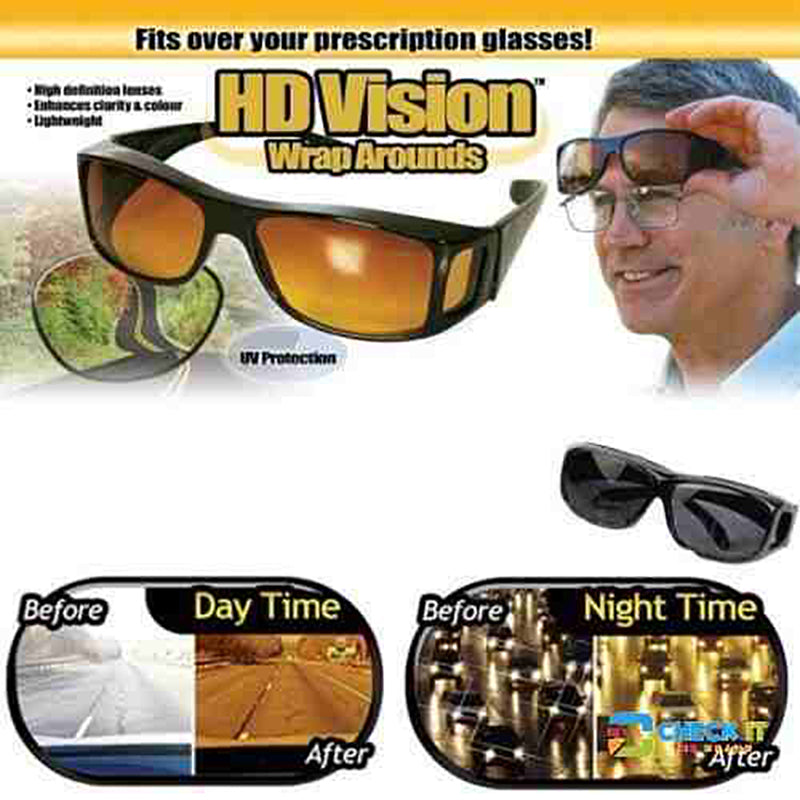 810c06d891 HD Vision Anti Glare Wrap Around Glasses (2-in-1 Set) - FREE ...