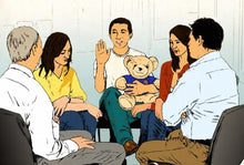 Asian family with Listening Bear