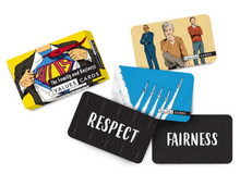The Family and Business Values Cards box and some cards with the words Respect and Fairness