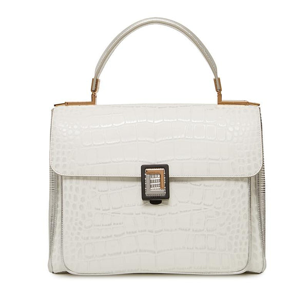 Georgia Satchel | White Croc