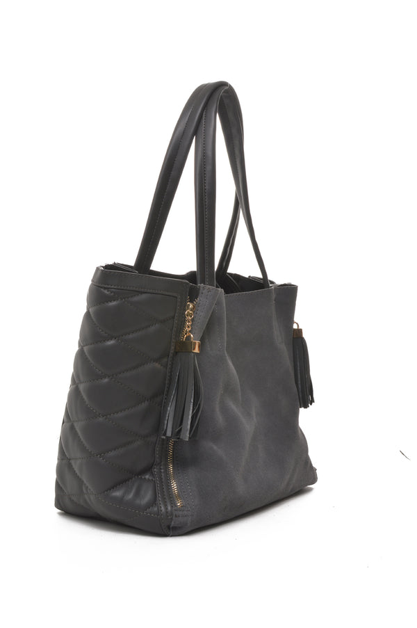 INZI | Expandable Quilted Tote Charcoal