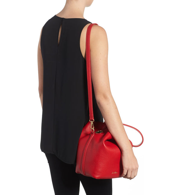 SAM EDELMAN | Renee Leather Bucket Bag Lipstick Red