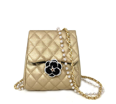 Pearl and Flower Quilted Crossbody