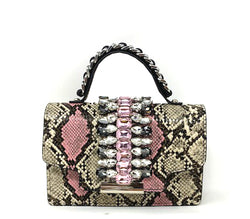 INZI | Python and Rhinestone Handle Bag