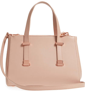 AUDREYY | Pink in Mink Adjustable Handle Leather Shopper