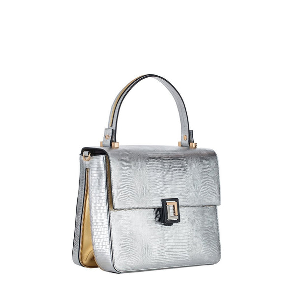 Carmen Medium Satchel | Silver Lizard