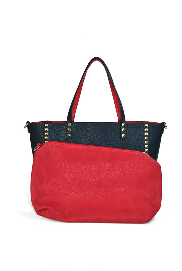 INZI | Reversible Studded Navy/Red