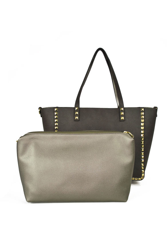 INZI | Reversible Studded Charcoal Metallic