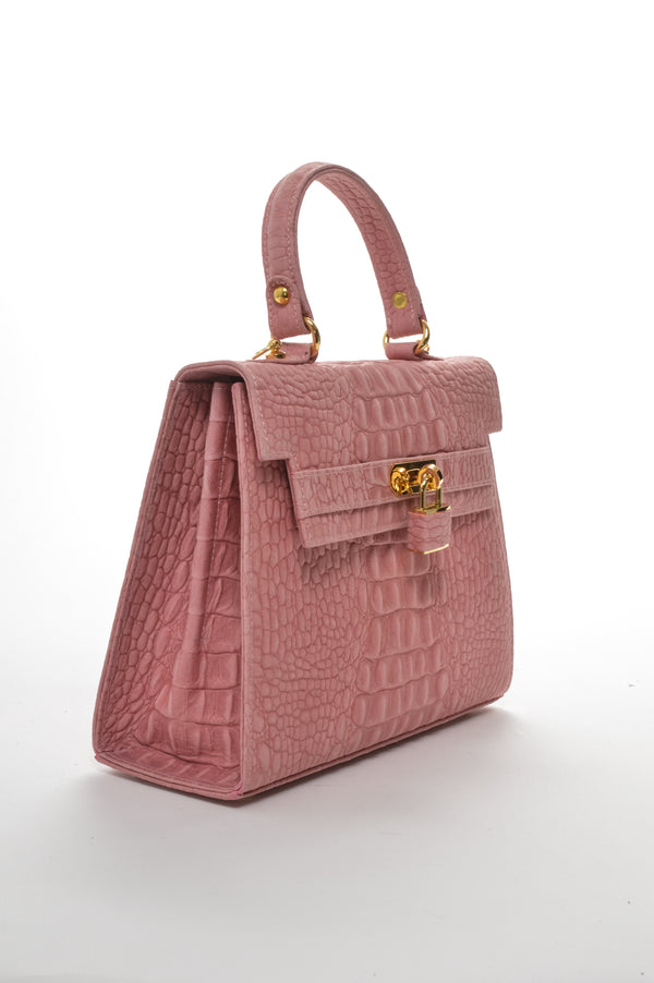 DUE FRATELLI | Pink Croc Embossed Handheld