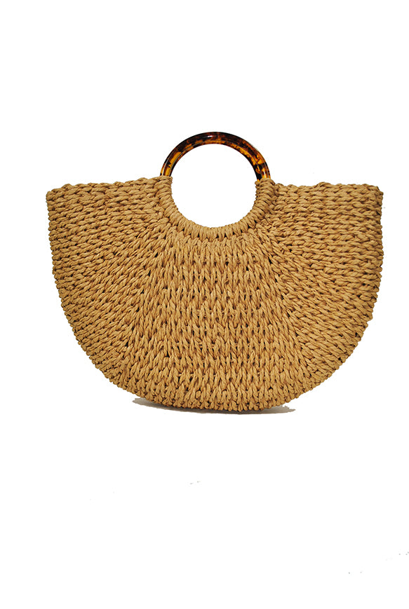 Natural Straw | Tortoise Shell Hand Carry
