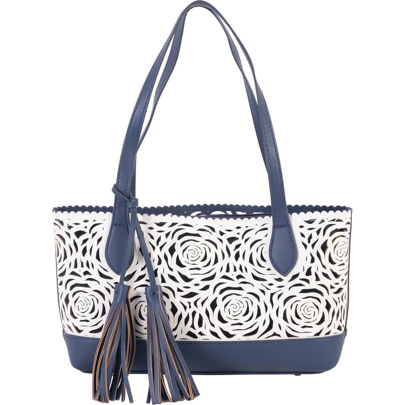 B U C O | Flower Bomb Handbag White/Navy