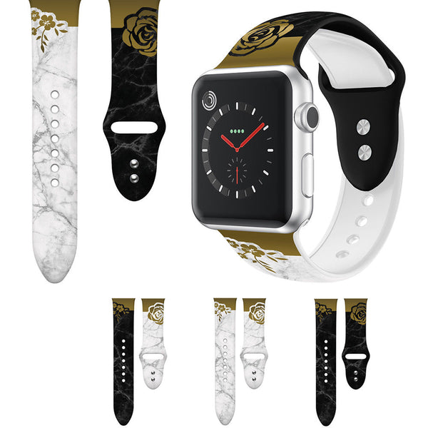 Rose Flowers Marble Silicone Watch Band Strap for Apple Watch Series 5/4/3/2/1 - InfinityAccessories017