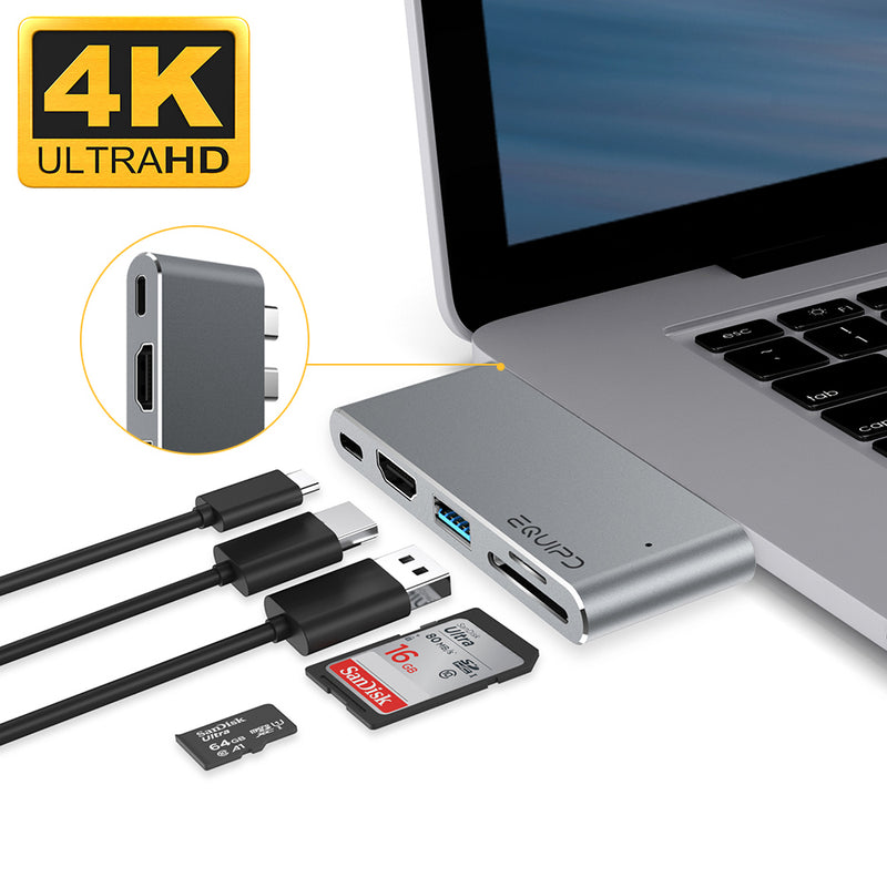 Type-C Pass-Through USB Hub with HDMI and Dual Card Reader - InfinityAccessories017