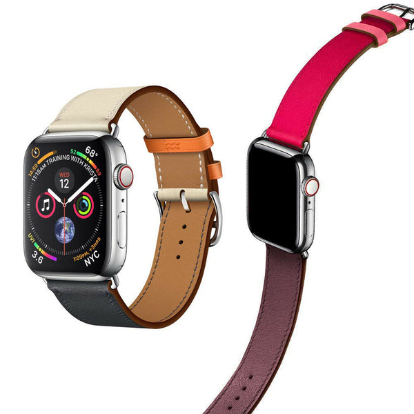 Leather TWO-TONE Watch Band Strap for Apple Watch Series 5/4/3/2/1 - InfinityAccessories017