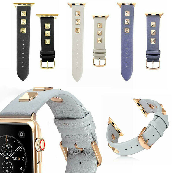 Leather Watch Band Strap Spikes Rivets for Apple iWatch Series 5/4/3/2/1 - InfinityAccessories017
