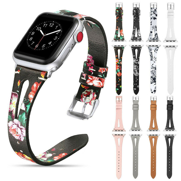 Leather Watch Band Strap Floral Flowers for Apple Watch Series 5/4/3/2/1 - InfinityAccessories017