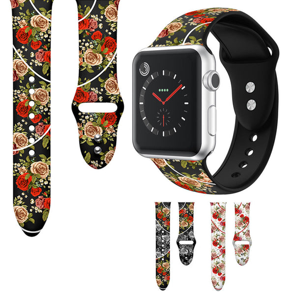 Floral Pattern Silicone Watch Band Strap for Apple Watch iWatch Series 5/4/3/2/1 - InfinityAccessories017