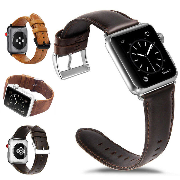 Leather Watch Band Strap Metal Buckle for Apple Watch Series 5/4/3/2/1 - InfinityAccessories017