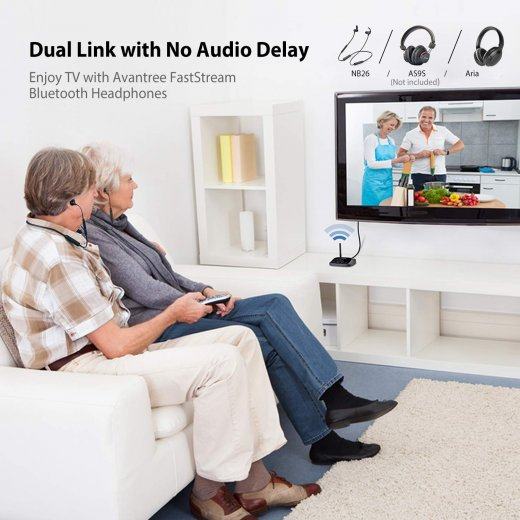 Wireless Headphones Earbuds for TV Watching w/Bypass Bluetooth Transmitter for Optical Digital, RCA, 3.5mm Ported TVs - InfinityAccessories017