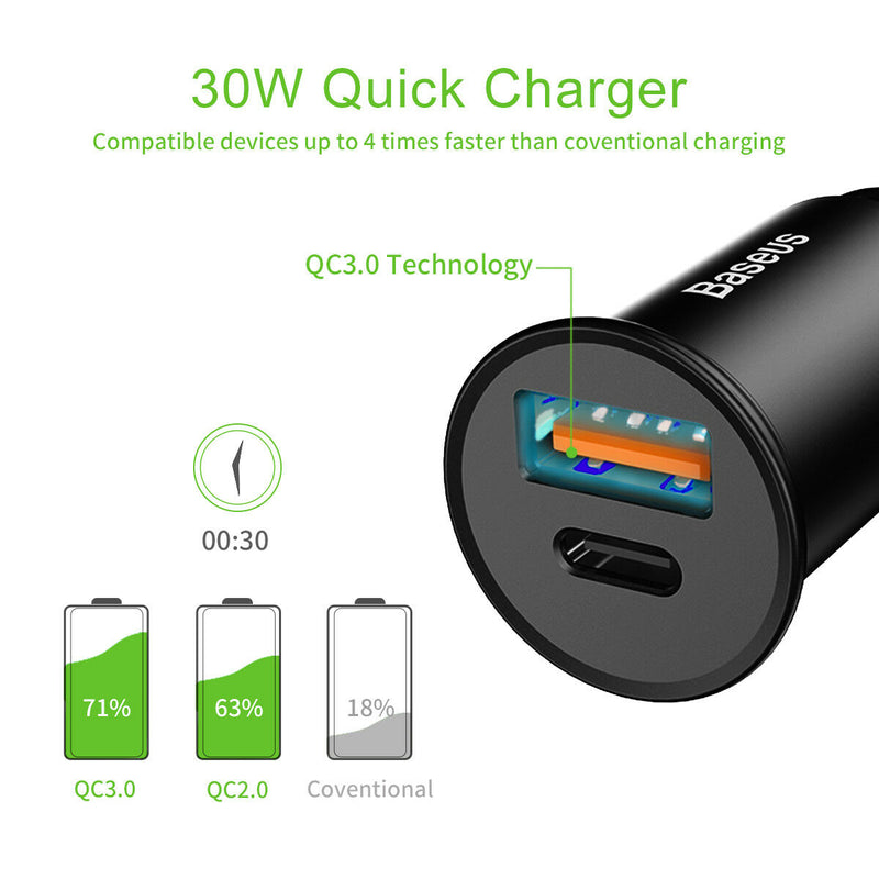 USB C PD Car Charger 2-Port 30W Power Delivery and QC 3.0 - InfinityAccessories017