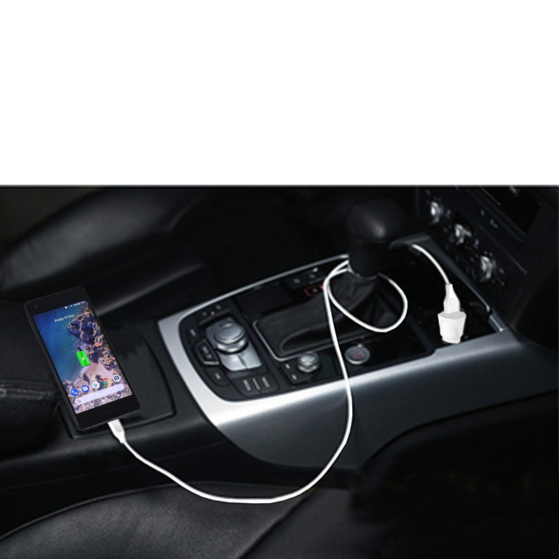 ESOULK 12W 2.4A Dual USB Travel Car Charger with 5ft USB to Micro USB Charging Cable
