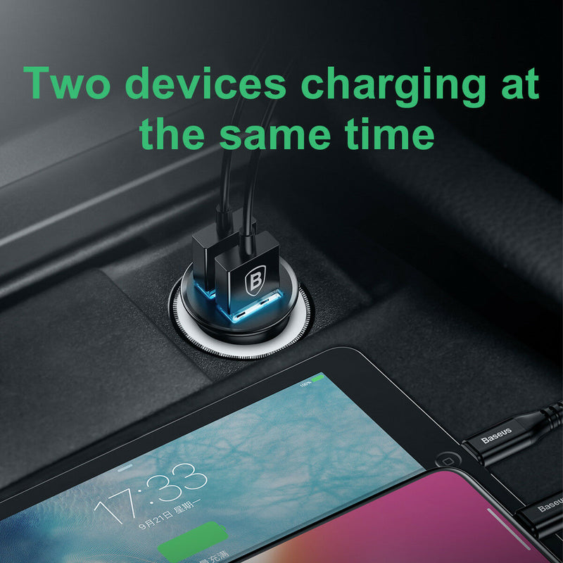Dual USB Ports Car Charger 30W Fast Charging QC 3.0 AFC - InfinityAccessories017