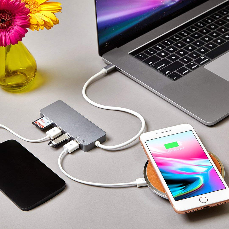 EQUIPD USB C Hub with 3 USB 3.0, Dual Memory Card Reader - InfinityAccessories017
